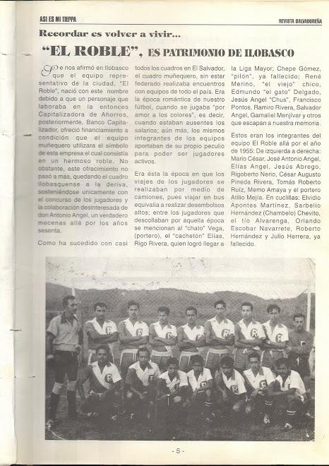Datos Sobre el Roble, Equipo Anterior Afi de Ilobasco
