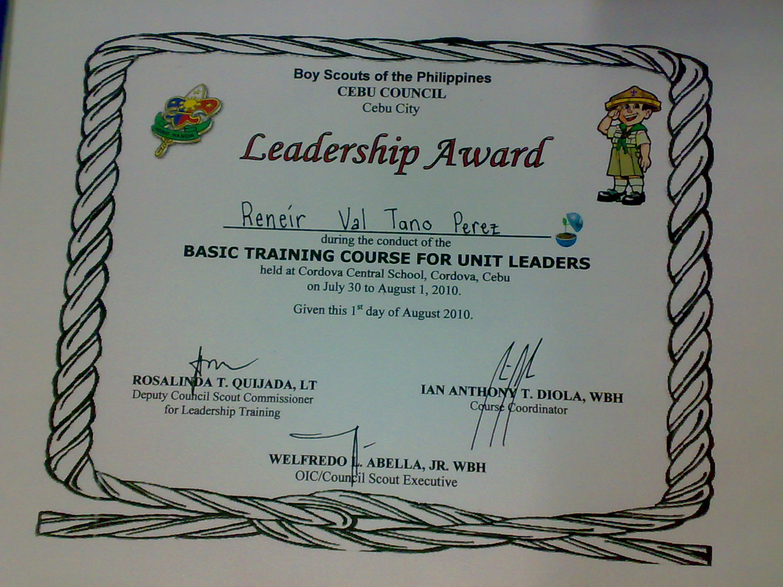 Boy Scout Certificate Templates - mandegar.info