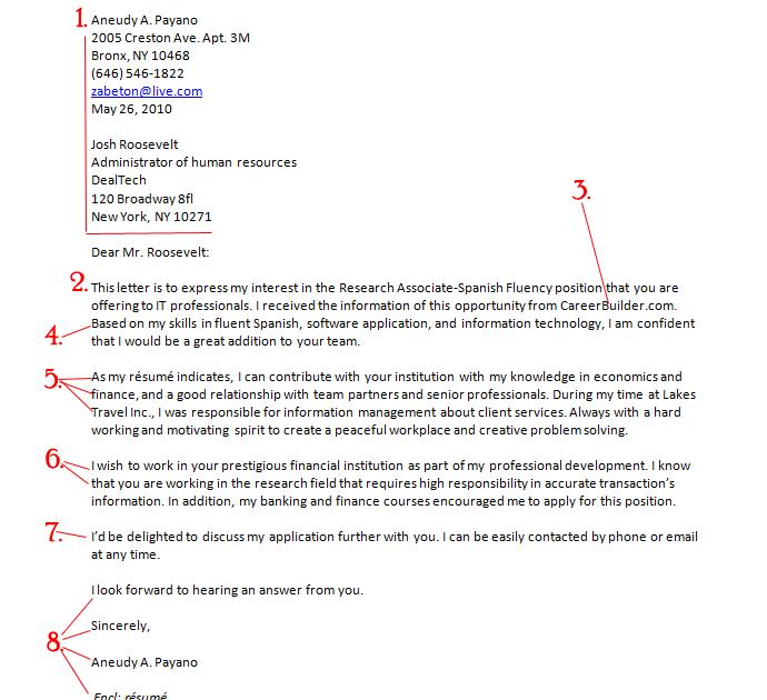 ejemplos de cover letter en ingles - Ejemplo De Cover Letter