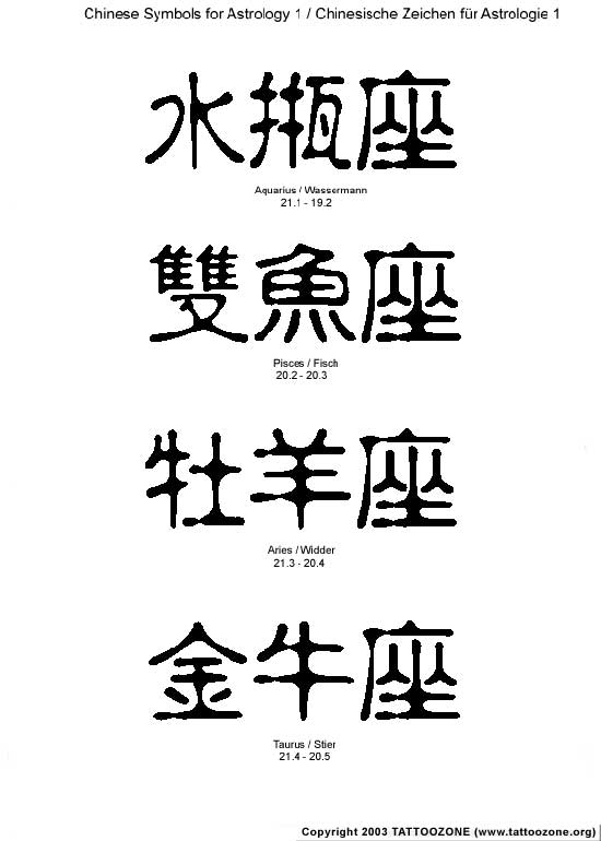 Many of the Chinese tattoos combine writing symbols. Chinese Tattoos Symbols
