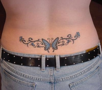 Blue Color Lower Back Butterfly Tattoos