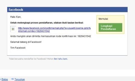 Verifikasi e-mail yang didaftarkan di Facebook (FB)