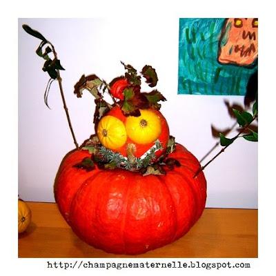 Creuser une citrouille à l'école maternelle, projet halloween et automne
