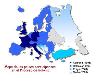 Η διαδικασία της Μπολόνια και η θέση της Ελλάδας στον ευρωπαϊκό χώρο. Mapa_paises_proceso_bolonia