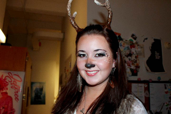 ... -up of my makeup...I made the antlers myself by the way..out of clay