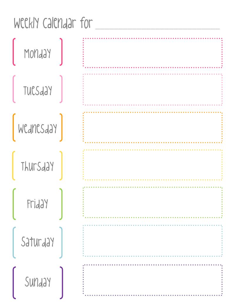 cute weekly hourly calendar template