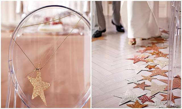 wedding ideas glittery diecut stars create a untraditional aisle and