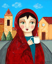Village girl drinking hot chocolate