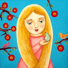 Blonde girl with birds