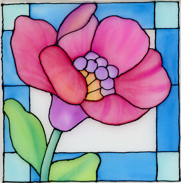 Fannie narte stained glass flower on silk using neocolor ii for Simple glass painting pictures