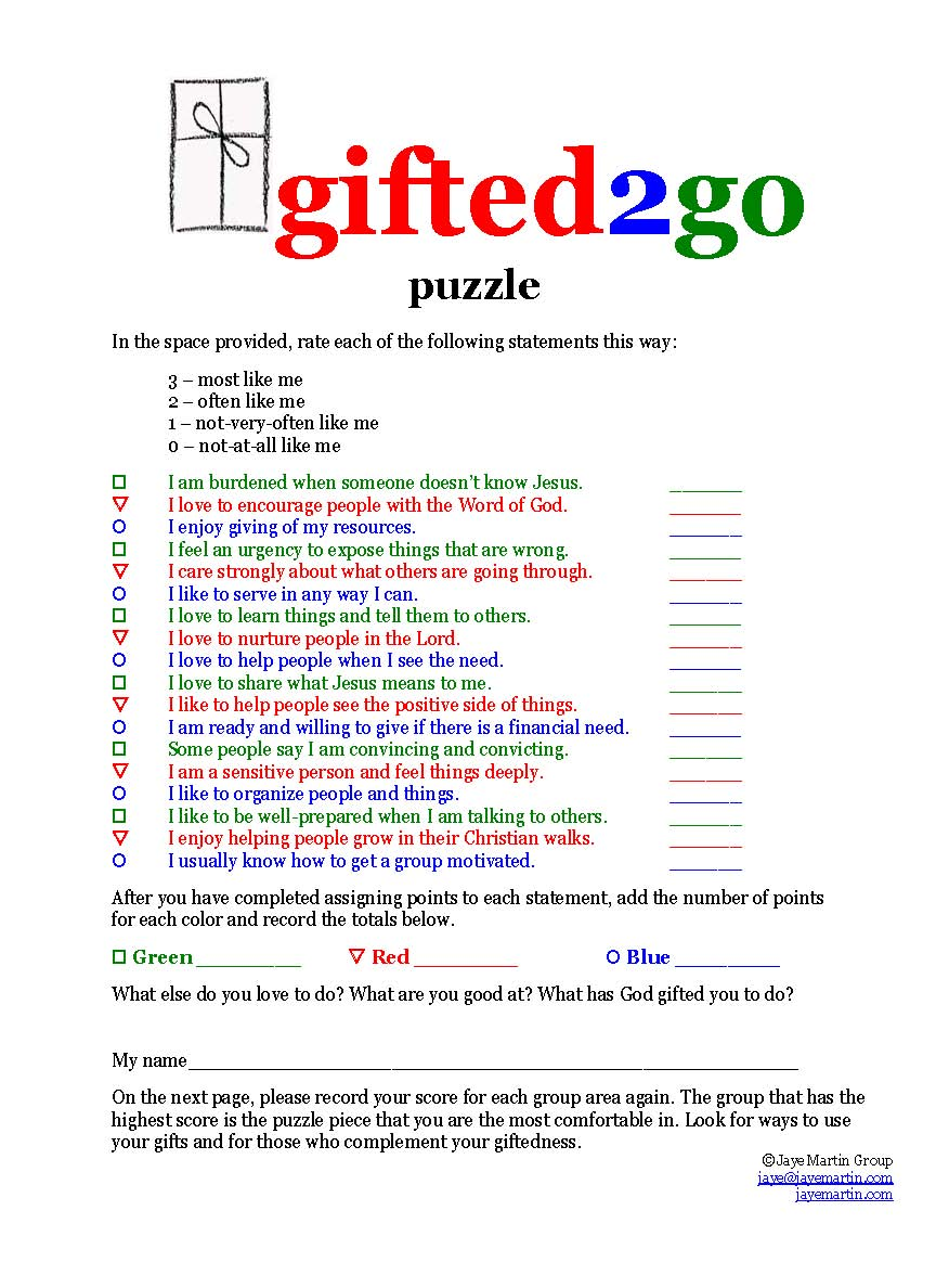 image about Free Printable Spiritual Gifts Test named Jaye Martin Ministries Blog site: Talented2move Puzzle