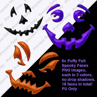 free felt spooky faces preview Free Puffy Felt Spooky Faces Embellishments