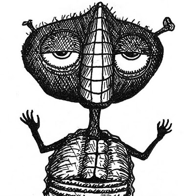 weird wise alien black and white pen sketch wants to dance