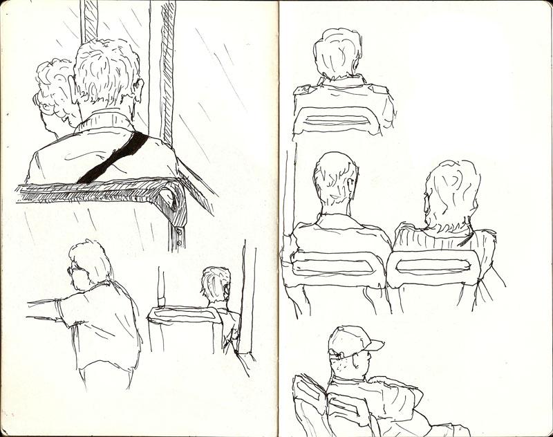 random sketch of people on the bus
