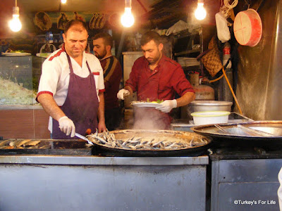 Deep-Fried Anchovies Near Galata Bridge In Istanbul