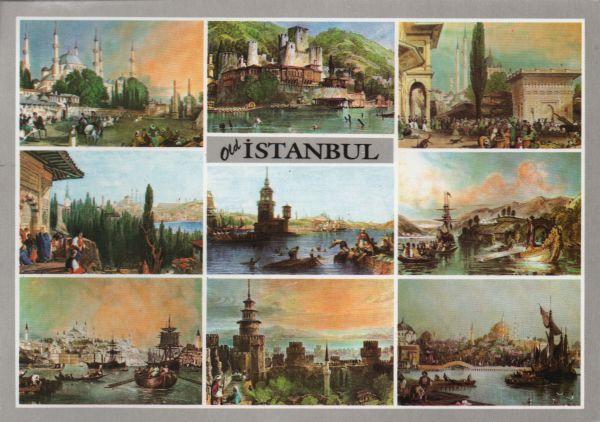 multiview postcard of engravings by Thomas Allom