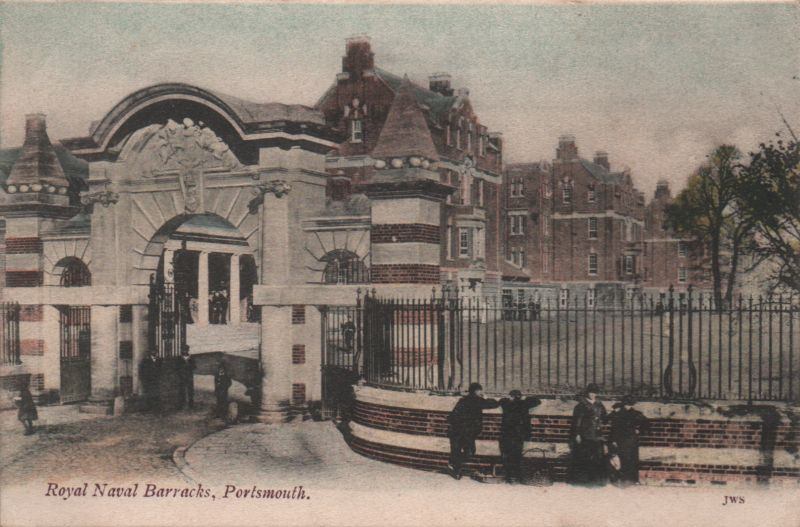 One of two views of the new Royal Navy Barracks built in 1903, in Portsmouth