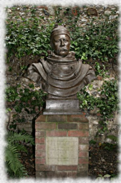 William Walker bust in grounds of Winchester Cathedral