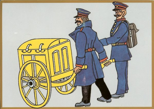 postcard commemorating 500 years of postal services in Germany, showing 2 post officials in 19th century costume