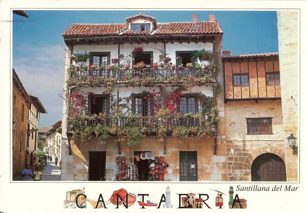 postcard of a typical Cantabrian house