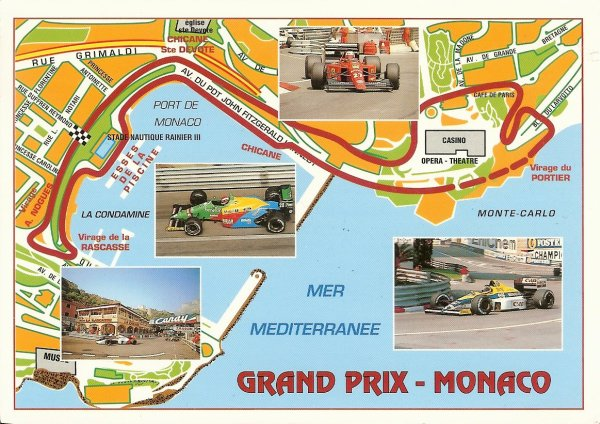 map postcard of the grand prix circuit in Monte Carlo