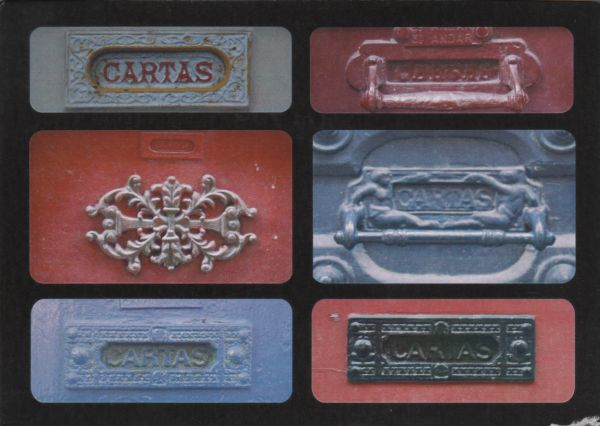 postcard of 6 colourful letter boxes marked CARTAS
