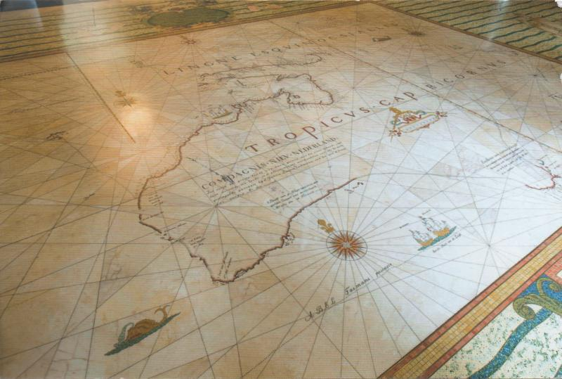 detail of the 1695 Tasman map reproduced on a library floor