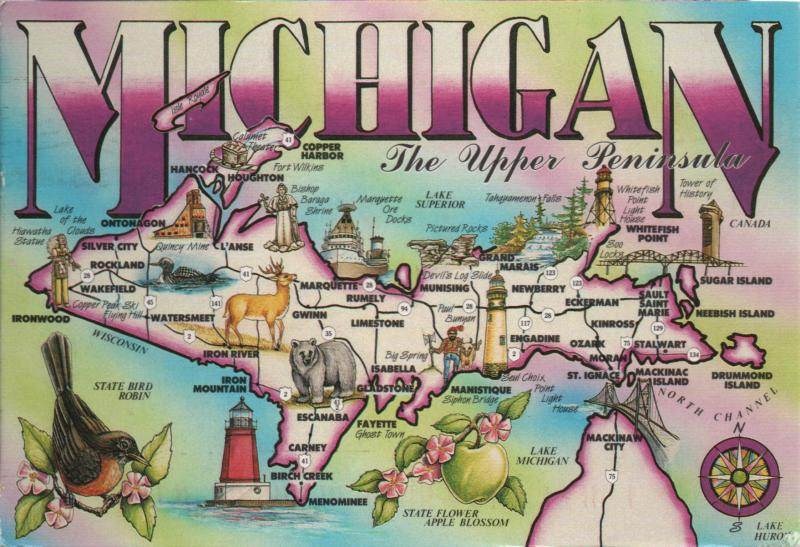 pictorial map of Michigan upper peninsula