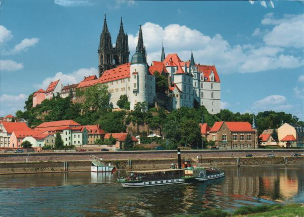 cathedral and castle overlooking river Elbe in Meissen