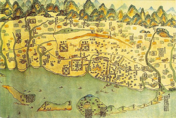 antique map of Anping district of Tainan
