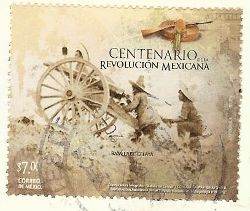 mexican stamp in shades of brown