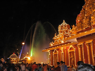 Fountains at temple pond, Kudroli, Mangalore