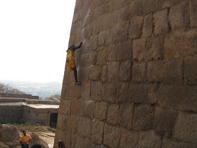 Jyothi Raj climbing fort walls