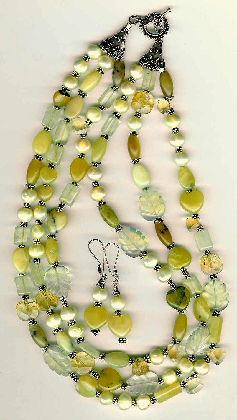 33. African Opal, Jade, Pinapple Topaz, Citrine with Bali Sterling Silver + Earrings
