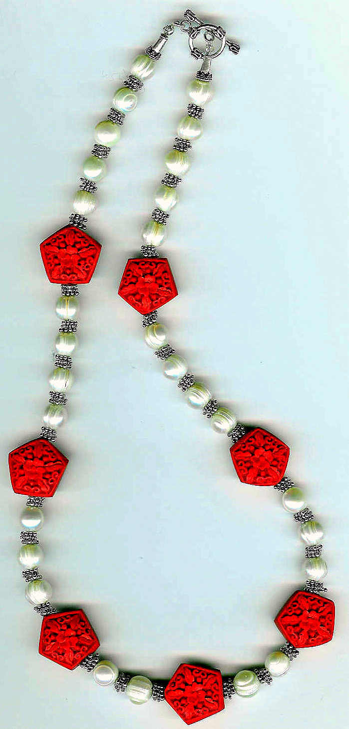 20. Cinnabar, Freshwater pearls with Bali Sterling Silver