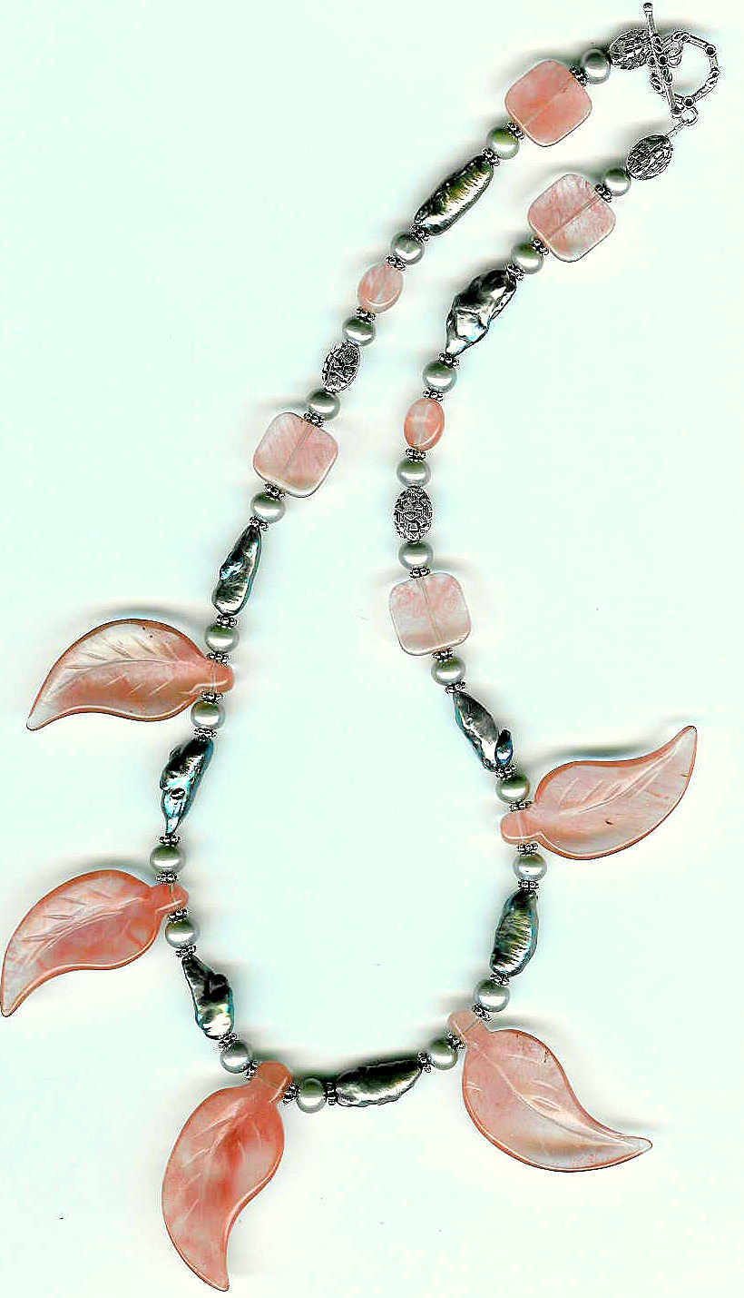 18. Cherry Quartz Crystal, Biwa Pearls and Bali Sterling Silver