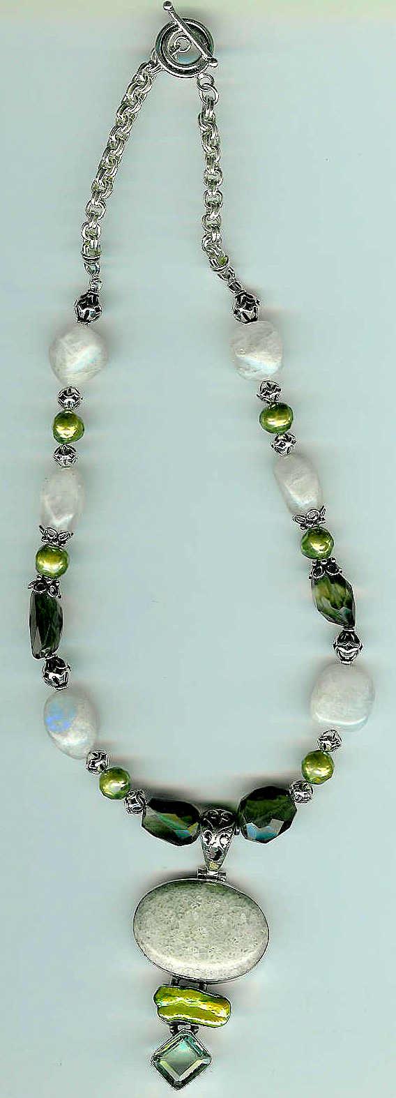 29. Fossilled Coral, Green Amethyst + Biwa Pearl pendant -Topaz, Moonstone, Pearls + Bali SS