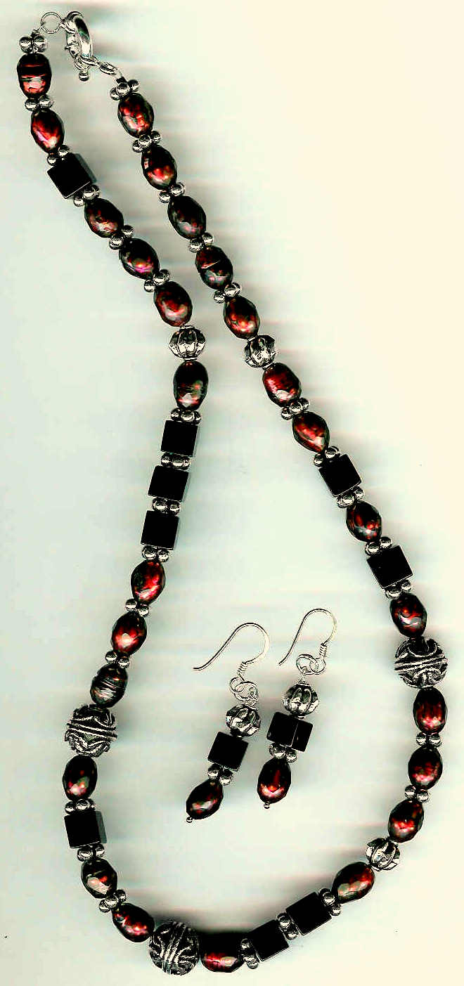 17. Faceted Burgundy Freshwarer pearls, Black Onyx with Bali Sterling Silver + Earrings