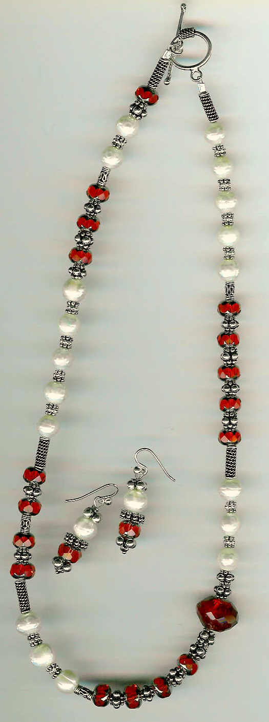 36. Red Crystals, Faceted Freshwater Pearls with Bali Sterling Silver + Earrings