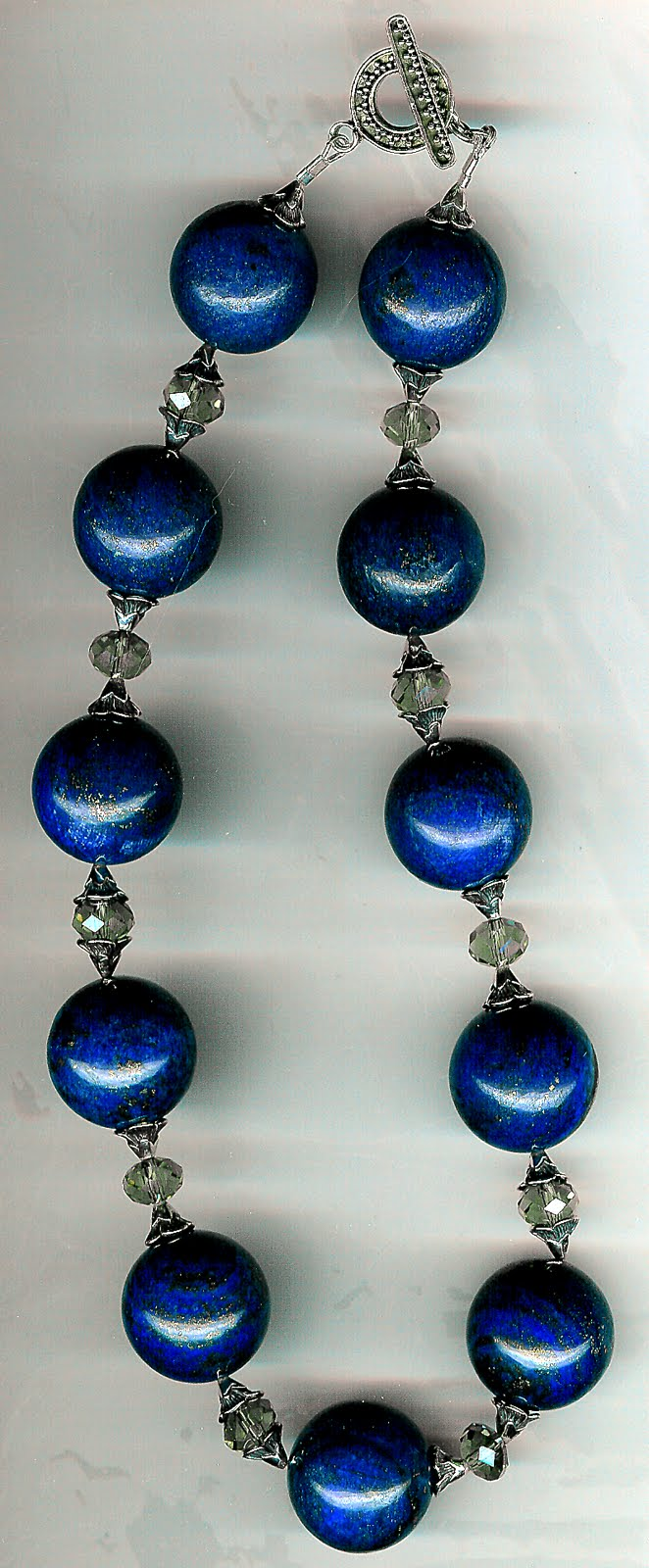 127. Lapis Lazuli, Crystal with Bali  Sterling Silver