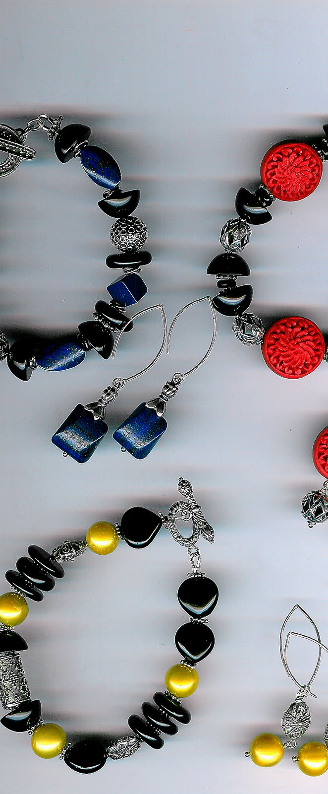 134. Cinnabar, onyx, lapis lazuli, akoya pearls with Bali Sterling Silver