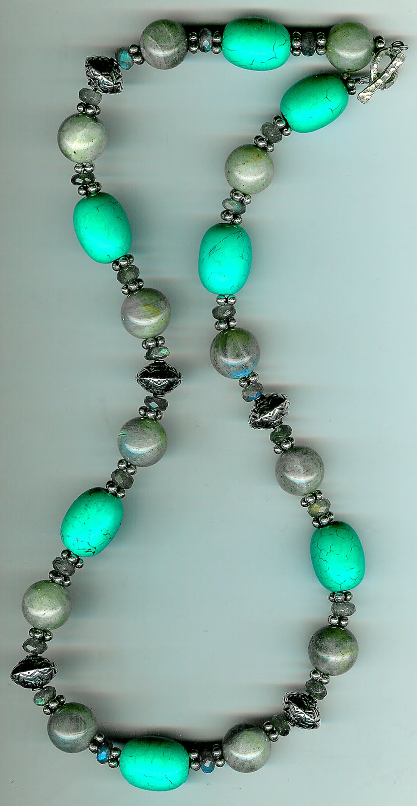132. Labradorite, Turquoise with Bali Sterling Silver