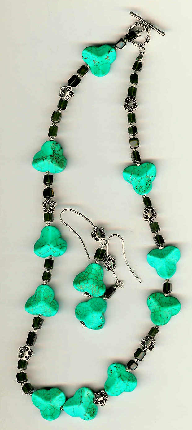 55. Carved Turquoise, Smokey Quartz with Bali Sterling Silver + Earrings