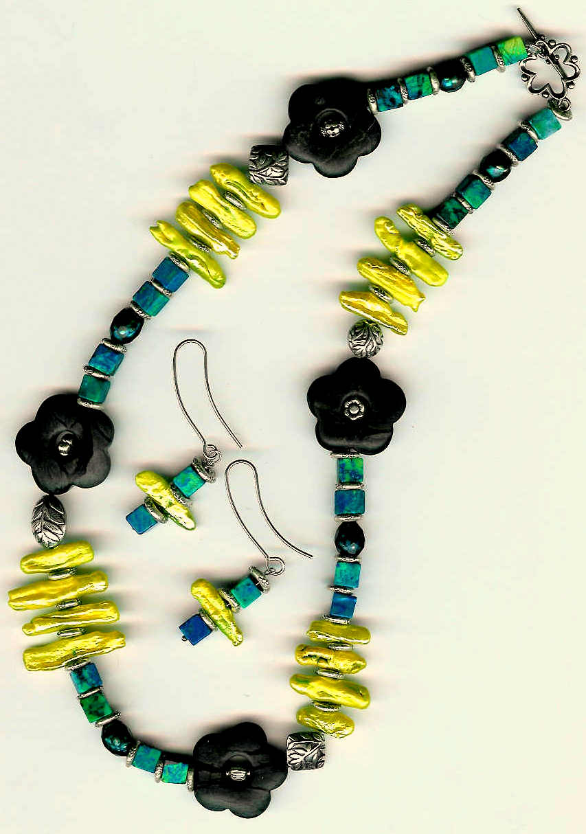74. Chrysocolla, Carved Jasper, Biwa and Freshwater Pearls and Bali Sterling Silver + Earrings