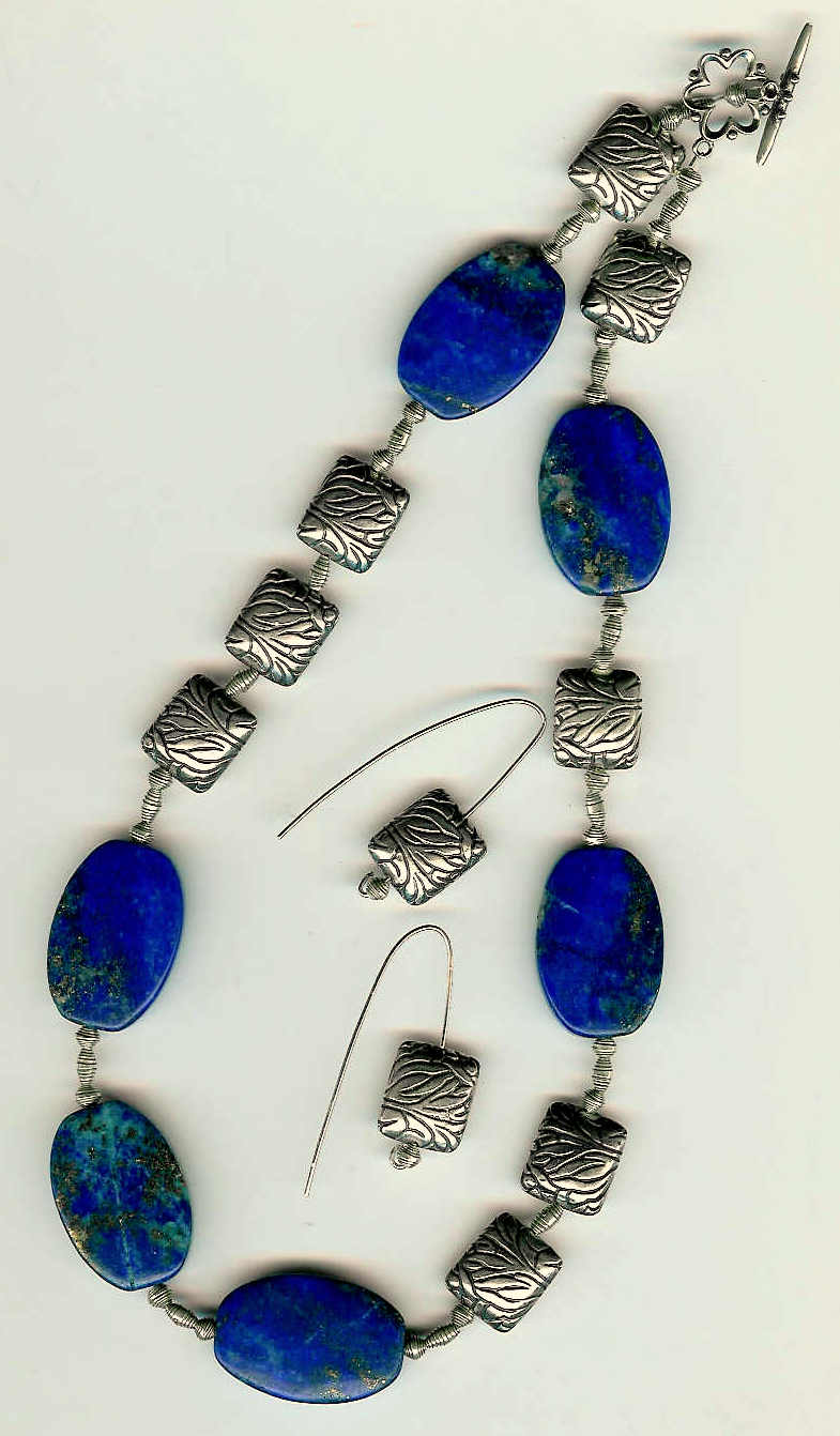 76. Lapis Lazuli with Bali and Karen Hill Thai Sterling Silver + Earrings