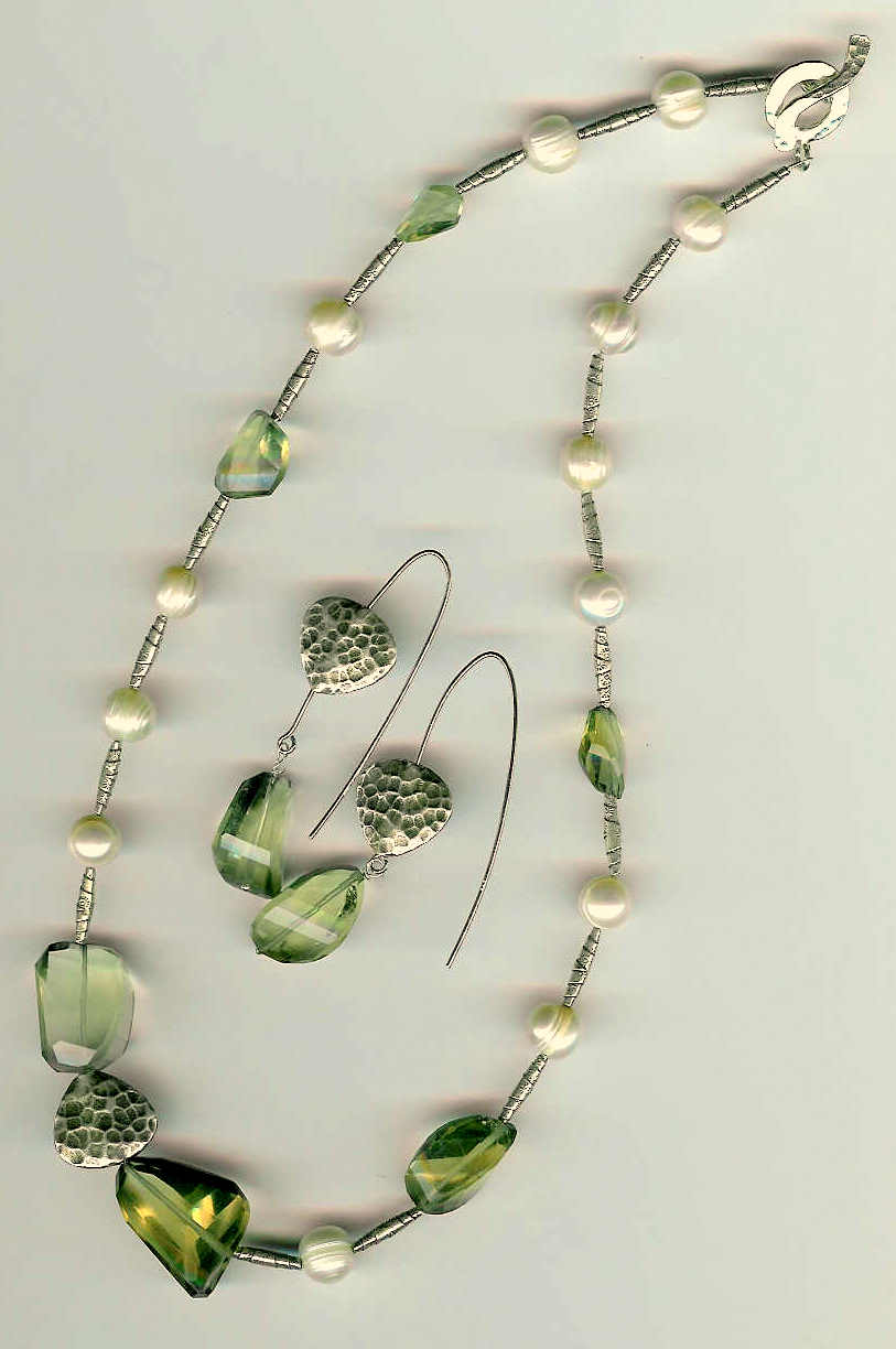 81. Lemon Quartz Freshwater pearls with Karen Hill Thai Sterling Silver + Earrings