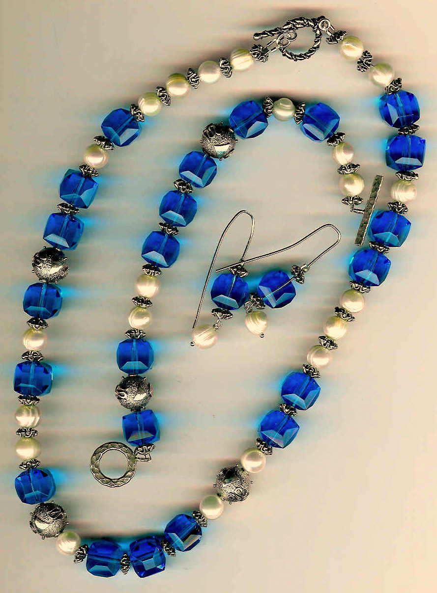 83. Blue Crystal, Freshwater pearls with Bali Sterling Silver + Bracelet and Earrings