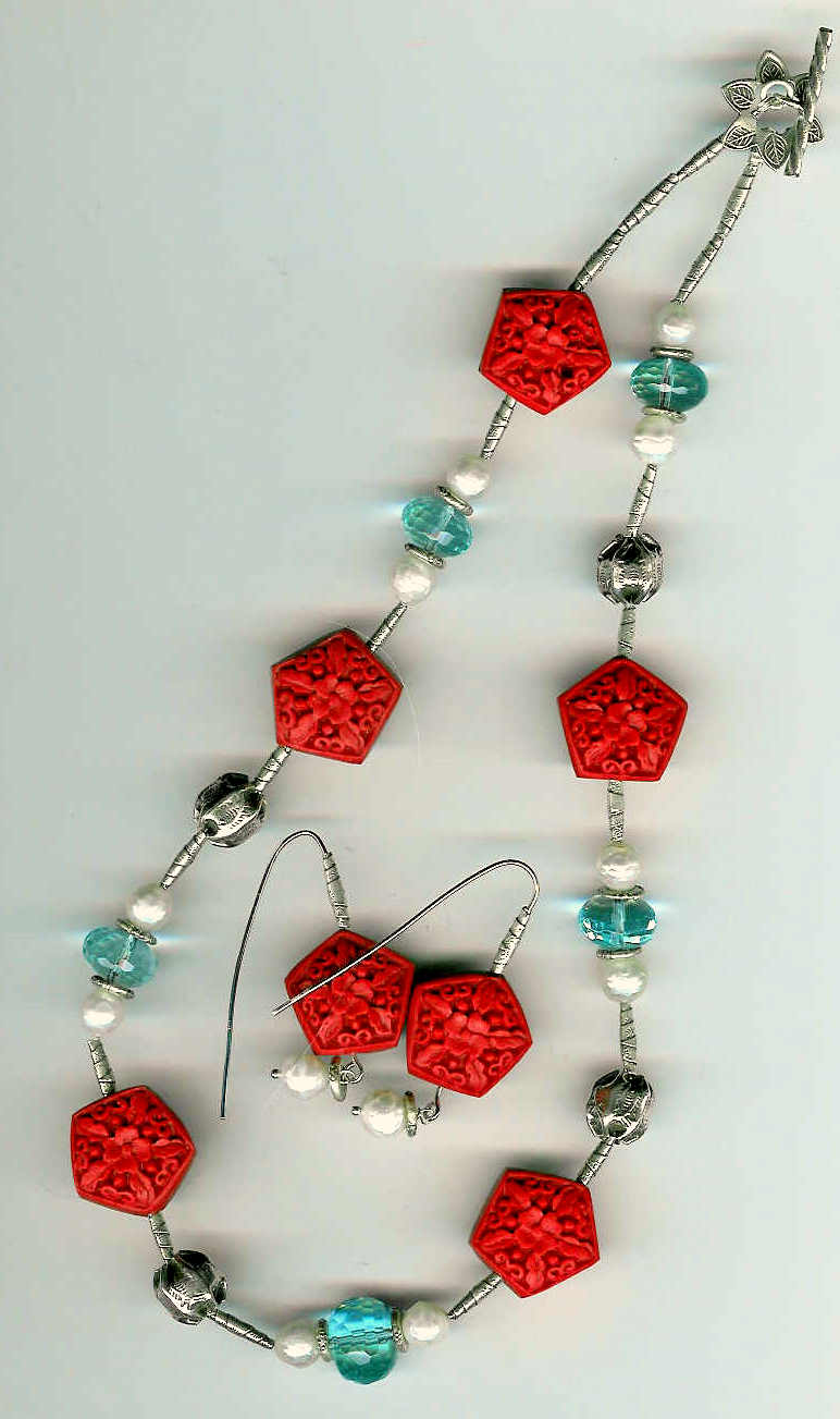 88. Cinnabar, crystals, Freshwater Pearls with Karen Hill Thai Sterling Silver + Earrings