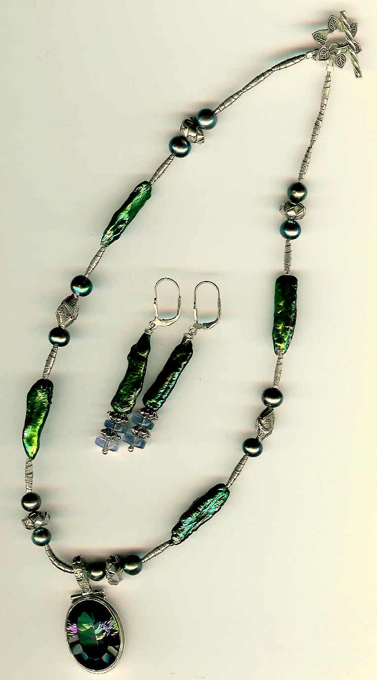 89.Mystic Topaz Pendant, Freshwater and Biwa Oearls with Karen Hill Thai Sterling SIlver + Earrings