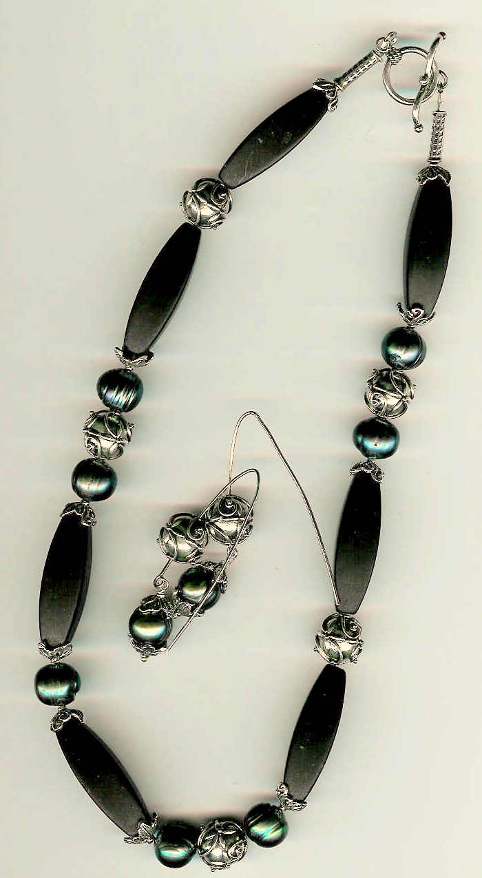 90. Matte Black Onyx, Freshwater pearls with Bali Sterling SIlver + Earrings